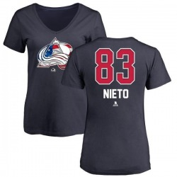 Women's Matt Nieto Colorado Avalanche Name and Number Banner Wave V-Neck T-Shirt - Navy